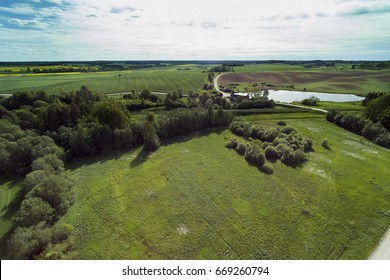 Aerial view of Latvian countryside, Tukums area.