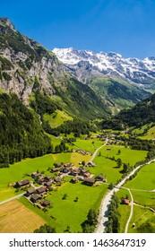 Aerial view of lauterbrunnen Valley and Jungfrau swiss alps behind, Switzerland
