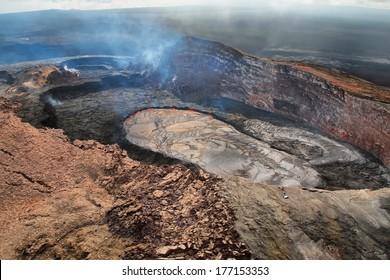 Aerial view of lava lake of Puu Oo crater of Kilauea volcano in Big island, Hawaii
