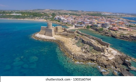 Aerial view of Le Castella from drone point of view, Calabria.