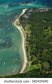 Aerial view of Le Morne beach in Mauritius from Le Brabant mountain a wind surf and kiting location
