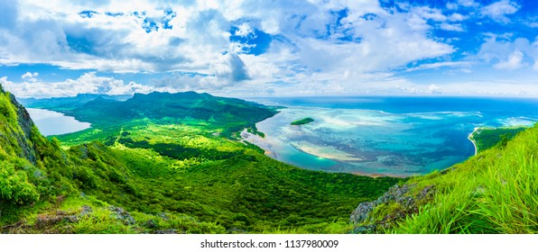 Aerial view of  Le Morne Brabant mountain, Mauritius island, Africa