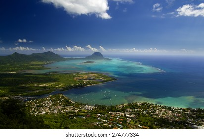 Aerial view of Le Morne Brabant and Tamarin village in Mauritius