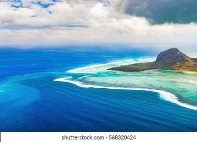 Aerial view of Le Morne Brabant peninsula. Amazing Mauritius landscape
