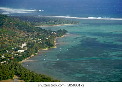 Aerial view of Le Morne Brabant village  in Mauritius historical UNESCO patrimony related to the World Heritage Site