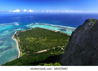 Aerial view from le Morne Brabant mountain which is a World Heritage UNESCO location