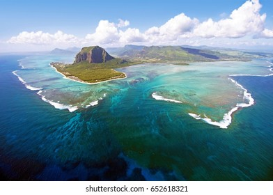 Aerial view of Le Morne Brabant mountain which  is in the World Heritage list of the UNESCO