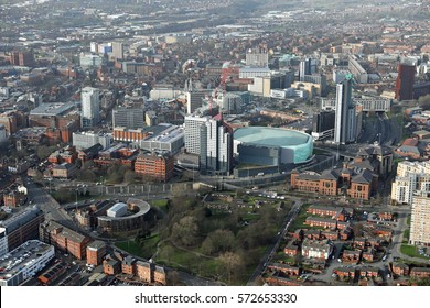 aerial view of Leeds city centre, West Yorkshire, UK