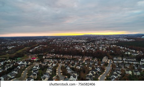 An aerial view of Leesburg, Virginia from the Red Rocks Overlook.