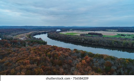 An aerial view of Leesburg, Virginia at the Red Rocks Overlook point.