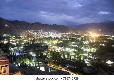 Aerial view of Leh city at evening