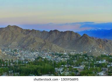 Aerial view of Leh Town, ladakh India against twilight