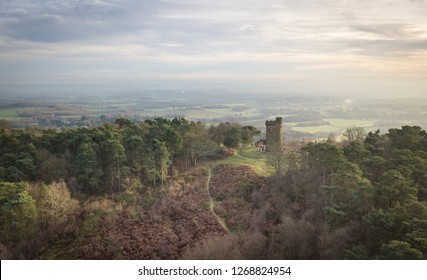 Aerial view of Leith Hill Tower in the Surrey Hills, UK
