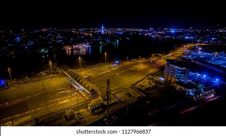 Aerial view of Lekki toll gate at night