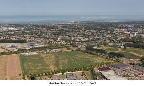 Aerial view Lelystad near the lake IJsselmeer, capital city of province Flevoland, The Netherlands