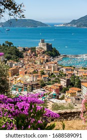 Aerial view of the Lerici town, in the background Portovenere or Porto Venere with the Palmaria Island. In the Gulf of La Spezia, Liguria, Italy, Europe