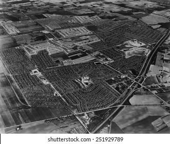 Aerial view of Levittown housing development on Long Island, New York. 1954.