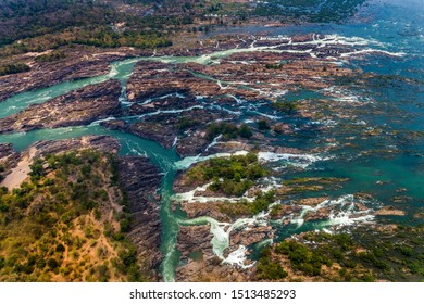 Aerial view of Li Phi waterfall in Laos - Tat Somphamit, don khone, si phan don on four thousand islands in Laos. Landscape of nature in south east asia during summer.