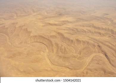 Aerial view of Libyan Desert - the northern and eastern part of the Sahara Desert near Cairo, Egypt