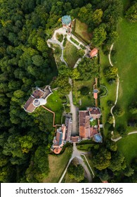 Aerial view of Lichtenstein castle in cloudy weather. Germany in the summer