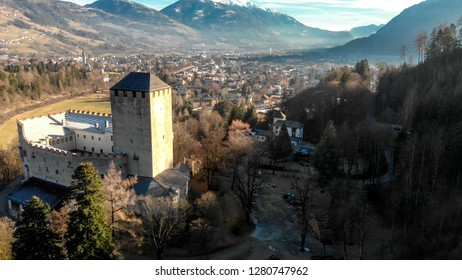 Aerial view of Lienz Castle and valley in winter season, Austria.