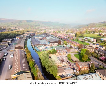 Aerial view of light industrial units, Mytholmroyd, Calderdale, West Yorkshire, UK