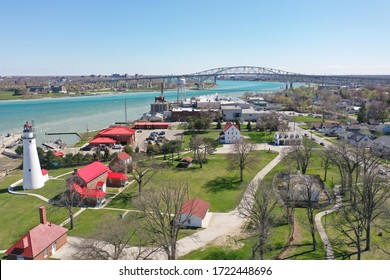 Aerial view of Lighthouse beach with the Blue Water Bridge in the background. Image taken in early springtime, mid afternoon.