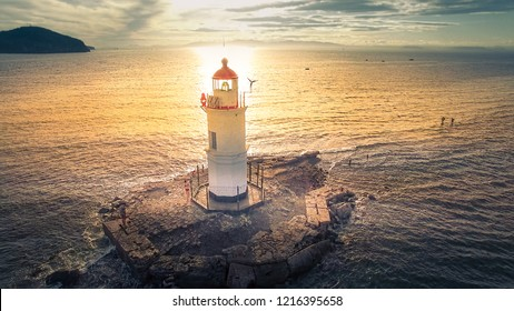 Aerial view of the lighthouse at Cape Egersheld. Vladivostok, Russia