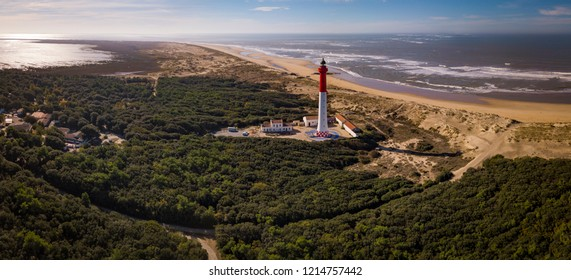 Aerial view of lighthouse La Coubre in La Tremblade, Charente Maritime, France