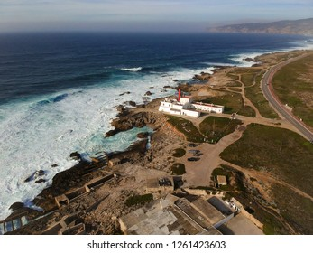 Aerial view from a lighthouse in the Portuguese coastline. Cape raso Lighthouse Cascais, Portugal