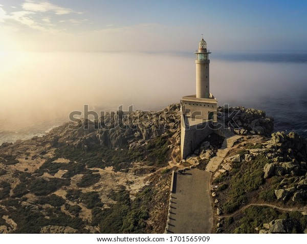 Aerial view in lighthouse of Punta Nariga. Galicia,Spain. Drone Photo