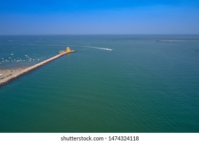 Aerial view lighthouse Punta Sabbioni Leuchtturm entrance in Venice, Italy. The main lighthouse at the entrance to the city of Venice. Resorts of Venice. Tourist place.