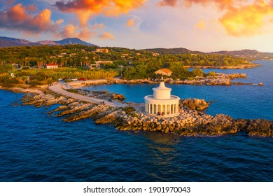 Aerial view of Lighthouse of Saint Theodore in Lassi, Argostoli, Kefalonia island in Greece. Saint Theodore lighthouse in Kefalonia island, Argostoli town, Greece, Europe.