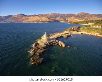 Aerial view of Lighthouse of Saint Theodore in Lassi - Argostoli; Kefalonia island in Greece