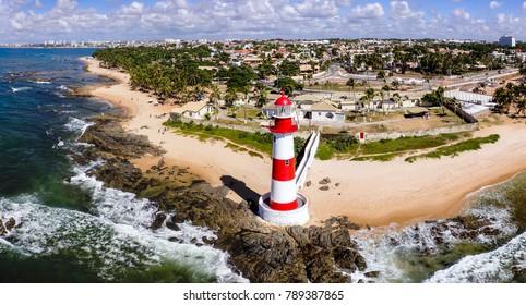 Aerial view of Itapuã, Lighthouse, Salvador, Bahia, Brazil