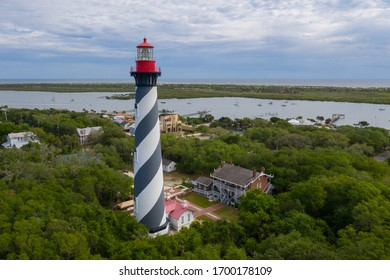 Aerial view of lighthouse in St. Augustine Florida.