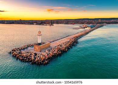 Aerial view of lighthouse at sunset in Varna, Bulgaria.