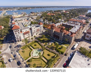 Aerial view of Lightner Museum with Spanish Renaissance Revival style and Matanzas River in St. Augustine, Florida, USA.