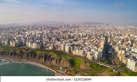 Aerial view of Lima city from Miraflores at afternoon