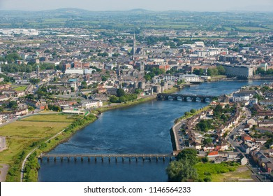 An aerial view of Limerick City, Ireland, from June 2009.