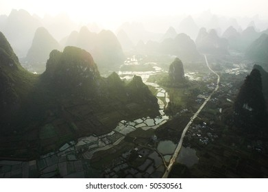 Aerial view of limestone formations in Yangshuo, China