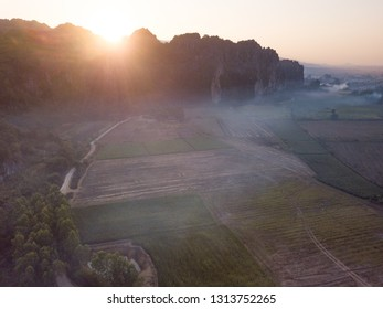 Aerial view limestone mountain range travel attraction in Noen Maprang district, Phitsanulok, Thailand