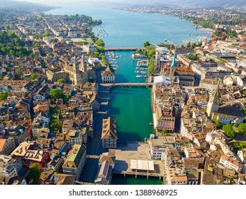 Aerial view of Limmat river and famous Zurich churches