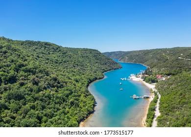Luftbild des Limski-Kanal-Fjord, Istrien, Kroatien
