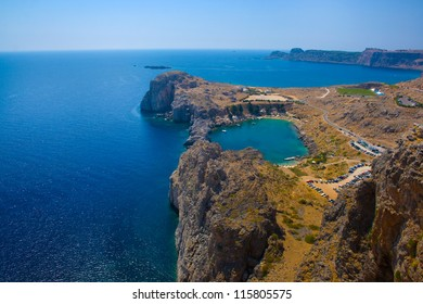 Aerial view of Lindos Agios Pavlos bay, strong polarization effects, Rhodes