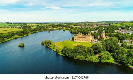 Aerial view of Linlithgow Abbey and the ruins of Linlithgow Palace, near Edinburgh.