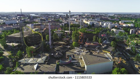 Aerial view of Linnanmaki amusement park, in the city of Helsinki, on a sunny summer morning dawn, in Helsingfors, Uusimaa, Finland