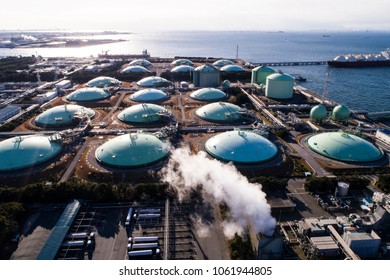 Aerial view of liquefied natural gas facilities.