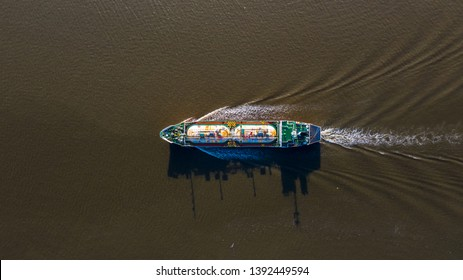 Aerial view Liquefied Petroleum Gas (LPG) tanker, Tanker ship logistic and transportation business oil and gas industry.