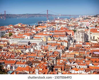 Aerial view of Lisbon in Portugal on a sunny day.